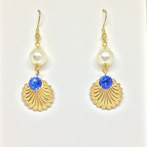 Up Cycled Vintage Drop Earrings Pearl Gold & Blue